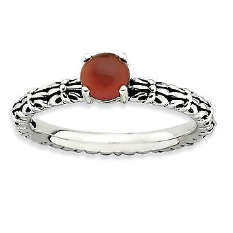2.5mm 925 Sterling Silver Prong set Stackable Expressions Red Agate Ring Jewelry Gifts for Women - Ring Size: 5 to 10