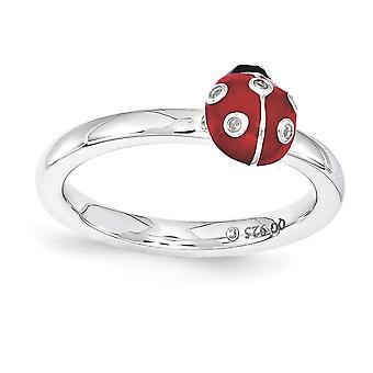 2.25mm 925 Sterling Argento lucidato smalto rosso Rhodium placcato Espressioni impilabili rosso e nero smalto con diamante Ri