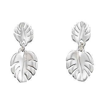 Delar Silver ost Plant blad droppe örhängen - Silver