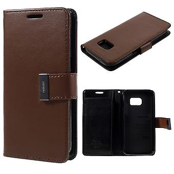 MERCURY Goospery Rich Diary for Samsung Galaxy S7-Brown