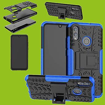Für Huawei P Smart und Plus 2019 Hybrid Case 2teilig Outdoor Blau Tasche Hülle Cover Schutz
