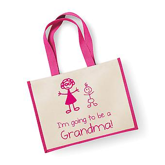 Large Pink Jute Bag I'm Going To Be A Grandma