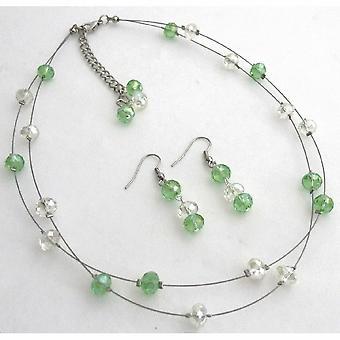Peridot AB Kristalle Glasperlen zurück Drop-Down-Halskette mit Ohrringen