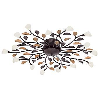 Eglo - Campanie 15 lumière moderne chasse d'eau plafond brun antique finition avec limes nuances en verre blanc EG90737