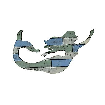 Green Blue and White Distressed Wood Swimming Mermaid Wall Hanging