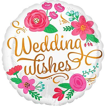 Anagram Wedding Wishes Flowery Round Foil Balloon