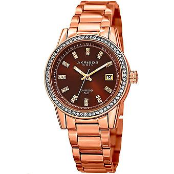 Akribos XXIV kvinnors äkta diamant och kristall rost fritt stål arm band Watch AK928RGBR