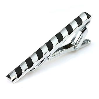 Silver & black stripe men's stainless steel tie clip