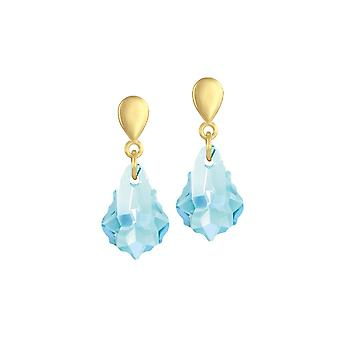 Eternal Collection Baroque Aquamarine Austrian Crystal Gold Tone Drop Clip On Earrings