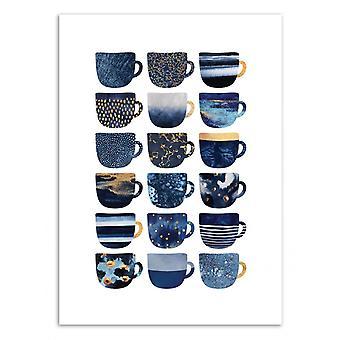 Art-Poster-mooie blauwe koffiebekers-Elisabeth Fredriksson 50 x 70 cm