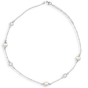 Rhodié Silver Necklace With White Pearl And Cubic Zirconia 40-5cm