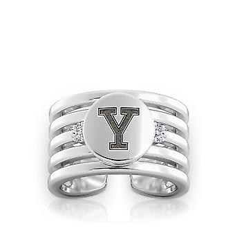 Yale University Engraved Sterling Silver Diamond Multiband Cuff Ring