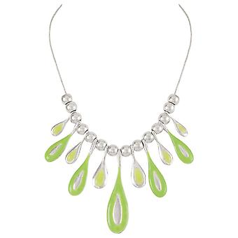 Eternal Collection Mirabelle Green Enamel Droplets Silver Tone Necklace