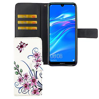 Huawei Y7 2019 Pocket Phone Case Protection Cover Flip Case with Card Tray Lotus Flower