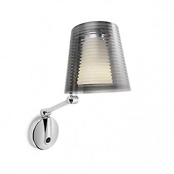 1 Light Indoor Wall Light Chrome With Smoked Shade