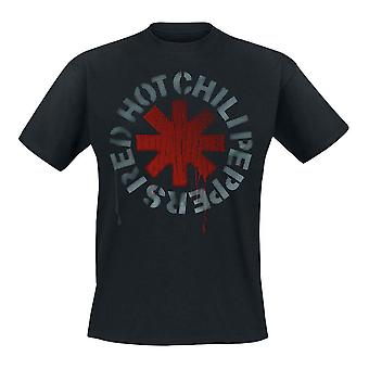 Men's Red Hot Chili Peppers Stencil Logo Black T-Shirt
