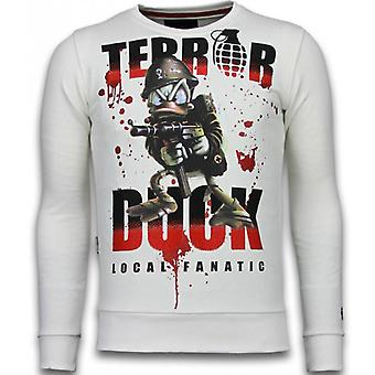 Terror Duck - Rhinestone Sweater - Wit