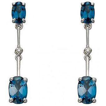 Elements Gold Topaz and Diamond Stick Drop Earrings - Blue/White Gold