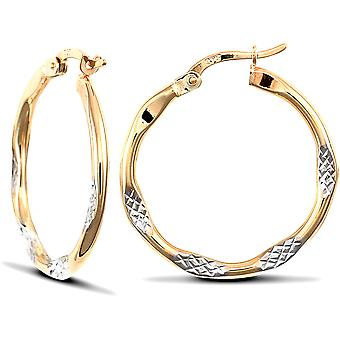 Jewelco London Ladies 9ct Yellow and White Gold Diamond Cut Hammered Hoop Earrings 25mm
