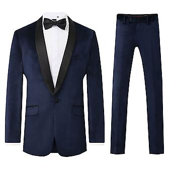 Dobell Mens Navy Velvet 2 Piece Smoking Slim Fit Kontrast Shawl Lapel