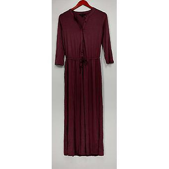H von Halston Kleid 3/4 Ärmel Maxi w/elastische Taille Pflaume lila A275437