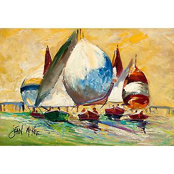 Carolines Treasures  JMK1033PLMT Bimini Sails Sailboat Fabric Placemat