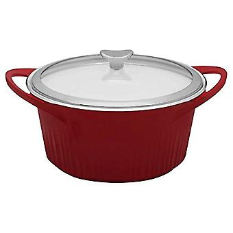CorningWare Cast Aluminum Dutch Oven Dual Handles Glass Cover 5 1/2-Quart Red