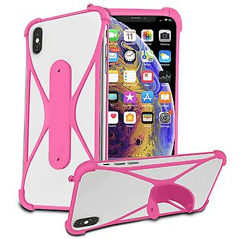 Stretchy Silicone Phone Bumper X-Shape Design Case Cover For Doogee X70 5.5'quot; (Pink)