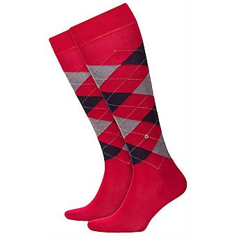 Burlington Manchester Knee High Socks - Coral Red/Grey
