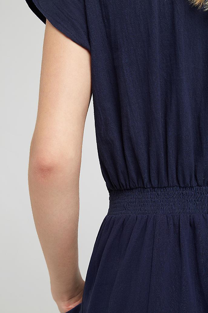 Louche Fleur Button Through Cotton Midi Dress Navy