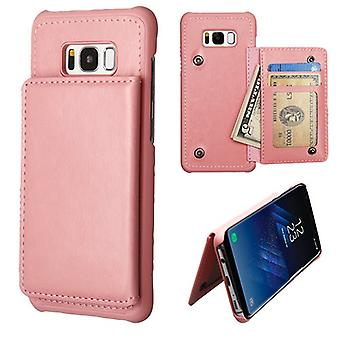 MYBAT Pink Flip Wallet Executive Protector Cover (PC Case w/ Snap Fasteners) for Galaxy S8 Plus