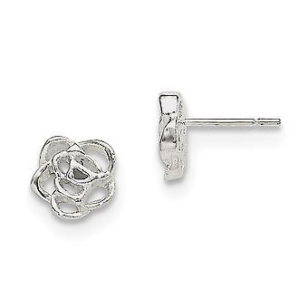 925 שטרלינג כסף מלוטש פרח לאחר עגילים תכשיטים מתנות לנשים-1.5 גרם