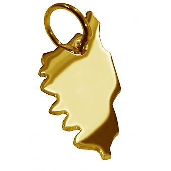 Hänge karta kedja hänge i guldgult-guld i form av KORSIKA