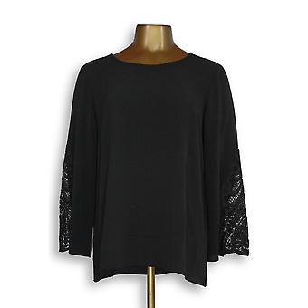 Joan Rivers Classics Collection Women's Top Scoop Neck Black A309544 PTC
