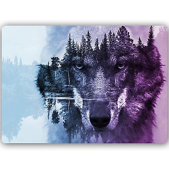 Cópia do metal, lobo no roxo do fundo da floresta