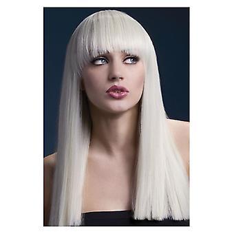 Koorts Alexia pruik, blond, lange Blunt gesneden met Fringe, 48cm/19 in Fancy Dress accessoire