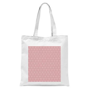Hand Drawn White Love Heart Repeat Pattern Tote Bag - White