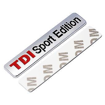 Chrome/Red TDI Sports Edition Rear Fender Front Boot Badge Emblem For Audi, Skoda, VW Volkswagen
