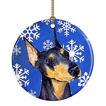 Doberman Winter Snowflakes Holiday Christmas Ceramic Ornament SS4633
