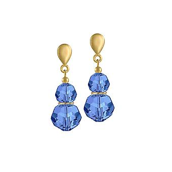 Eternal Collection Echo Sapphire Blue Crystal Gold Tone Drop Screw Back Clip On Earrings