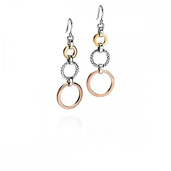 Fiorelli Silver Triple Open Disc Rose White Rhodium Gold Plating Earrings E5089