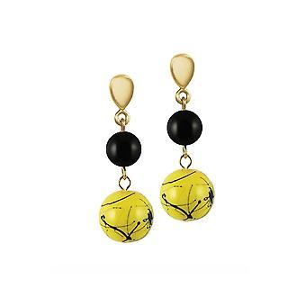 Eternal Collection Flamboyant Yellow/Black Glass Gold Tone Drop Pierced Earrings