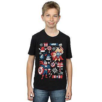 Marvel Boys Thor And Captain America Christmas Day T-Shirt