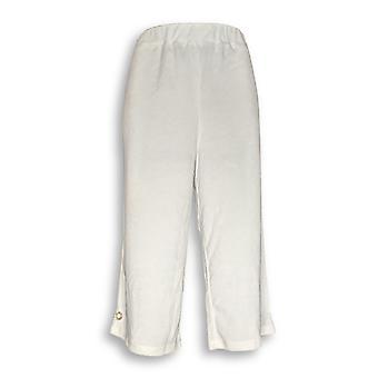 Quacker Factory Donne's Pantaloni Terry Vestito Tirare Su Capri Bianco A289674