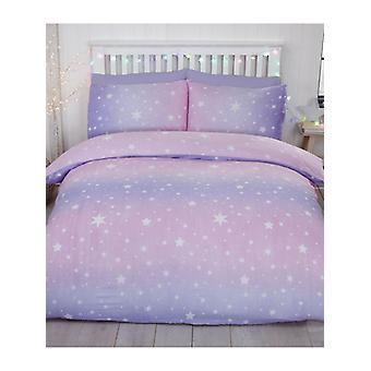 Starburst Brushed Cotton King Size Duvet Cover Set - Blush