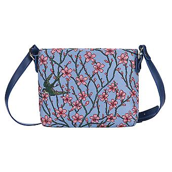 Almond blossom and swallow crossbody bag by signare tapestry / xb02-blos