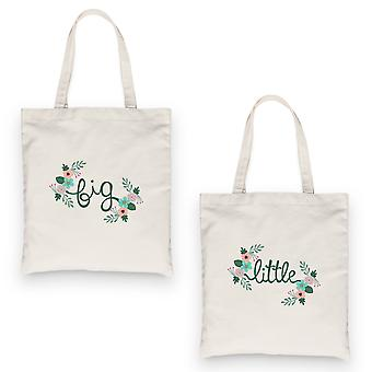 Big Little Floral BFF Matching Canvas Bags Natural Outstanding Cool