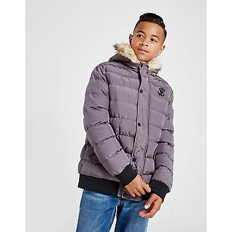 New ILLUSIVE LONDON Kids' Cropped Fur Parka Jacket Grey