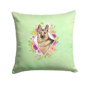 German Shepherd Green Flowers Fabric Decorative Pillow