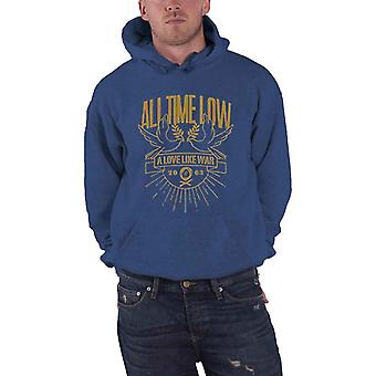 All Time Low Hoodie Doves Love Like War Band Logo Officiel Homme Blue Pullover